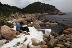 A volunteer clear-up plastic pellets on a bank along Hong Kong's Lamma island August 5, 2012. Hundreds of millions of potentially toxic plastic pellets from containers knocked off a vessel during Hong Kong's worst typhoon in 13 years have washed up on its beaches where they lay for more than a week, activists said on Saturday. REUTERS/Tyrone Siu