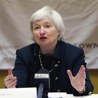 Janet L. Yellen, then president and chief operating officer of the Federal Reserve Bank of San Francisco, answers a reporter's question at the Town Hall Los Angeles forum in Los Angeles, in this March 23, 2010 file photo. If the Federal Reserve delivers another jolt of monetary stimulus to try to stir the U.S. economy back to life, it will be in part because of the powers of persuasion of a soft-spoken, former Berkeley professor. From her corner office just down the hall from Chairman Ben Bernanke's, Janet Yellen is one of the most influential economic policymakers in the world, backing bold action by the U.S. central bank at a time when much of Washington treats ''stimulus'' as a dirty word. Picture taken March 23, 2010. REUTERS/Mario Anzuoni/Files