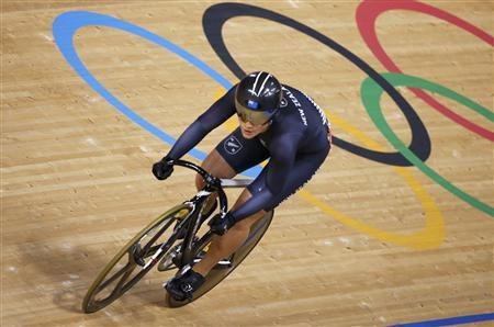 New Zealand's Natasha Hansen competes during the track cycling women's sprint 1/16 finals at the Velodrome during the London 2012 Olympic Games August 5, 2012. REUTERS/Paul Hanna