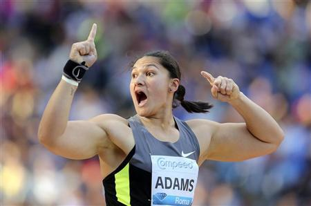 Valerie Adams of New Zealand celebrates winning the shot put event at the Golden Gala IAAF Diamond League at the Olympic stadium in Rome May 31, 2012. REUTERS/Alessandro Bianchi