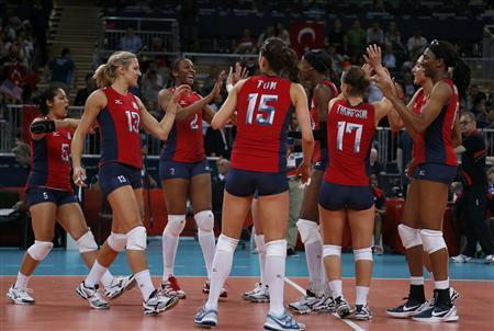 Players of the U.S. celebrate defeating Turkey during their women's Group B volleyball match at Earls Court during the London 2012 Olympic Games August 5, 2012. REUTERS/Ivan Alvarado