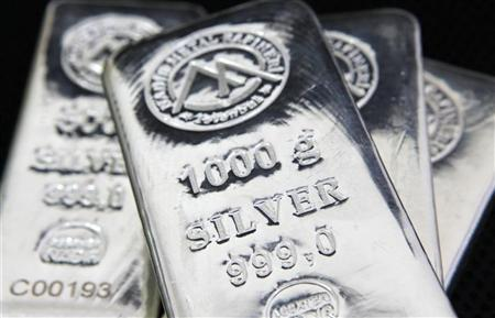 Bars of 1000 gram silver are seen in this picture illustration at a precious metal refinery in Istanbul July 26, 2011. REUTERS/Murad Sezer