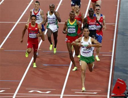 Algeria's Taoufik Makhloufi wins his men's 1500m semi-final during the London 2012 Olympic Games at the Olympic Stadium August 5, 2012. REUTERS/David Gray