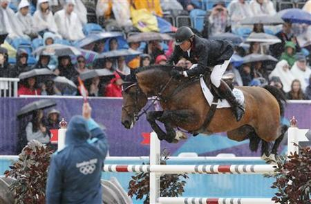 Britain's Nick Skelton rides Big Star during the equestrian individual jumping second qualifier in Greenwich Park at the London 2012 Olympic Games August 5, 2012. REUTERS/Mike Hutchings