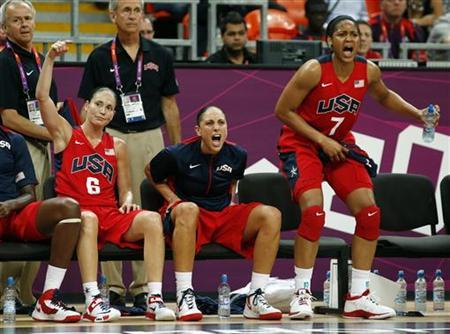 Sue Bird (L), Diana Taurasi (C) and Maya Moore all of the U.S. cheer on their teammates from the beanch in their game against China during the women's preliminary round Group A basketball match at the Basketball Arena during the London 2012 Olympic Games August 5, 2012. REUTERS/Mike Segar