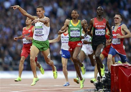 Algeria's Taoufik Makhloufi reacts as he wins his men's 1500m semi-final during the London 2012 Olympic Games at the Olympic Stadium August 5, 2012. REUTERS/Dylan Martinez