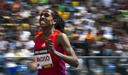 Fantu Magiso of Ethiopia wins the women's 800 meters race at the Diamond League New York Grand Prix athletics meet June 9, 2012. REUTERS/Andrew Burton