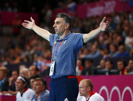 Britain's coach Dragan Djukic reacts on the sideline in their men's handball Preliminaries Group A match against Iceland at the Copper Box venue during the London 2012 Olympic Games August 6, 2012. REUTERS/Marko Djurica