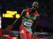 Grenada's Kirani James celebrates after winning the men's 400m final at the London 2012 Olympic Games at the Olympic Stadium August 6, 2012. REUTERS/Lucy Nicholson