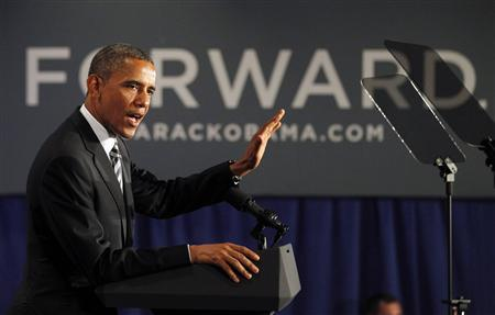 U.S. President Barack Obama delivers remarks at an election campaign fundraiser in Stamford, Connecticut, August 6, 2012. REUTERS/Jason Reed