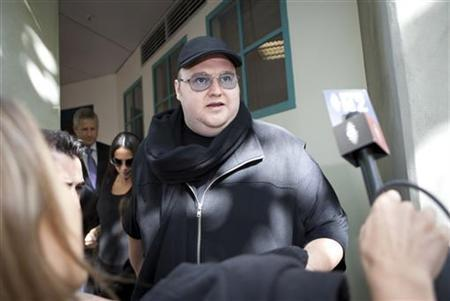 Megaupload founder Kim Dotcom leaves the High Court in Auckland February 28, 2012. REUTERS/Gino Demeer