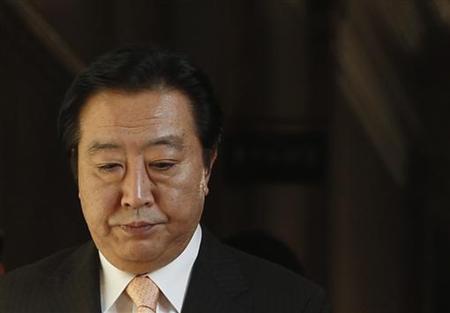 Japan's Prime Minister Yoshihiko Noda arrives at his ruling Democratic Party of Japan board members' meeting at the parliament in Tokyo July 2, 2012. REUTERS/Yuriko Nakao