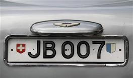 "The rotating number plate on the original Aston Martin DB5, driven by actor Sean Connery in the James Bond films ""Goldfinger"" and ""Thunderball"" is displayed in London July 21, 2010. REUTERS/Suzanne Plunkett"