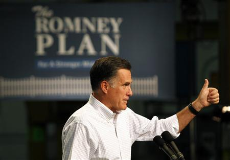 Republican presidential candidate and former Massachusetts Governor Mitt Romney speaks to supporters during a campaign event at Acme Industries in Elk Grove Village, Illinois August 7, 2012. REUTERS/Jessica Rinaldi
