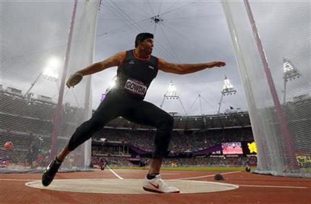 Vikas Gowda competes in the men's discus throw final during the London 2012 Olympic Games at the Olympic Stadium August 7, 2012. REUTERS/Kai Pfaffenbach