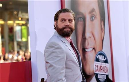 Cast member Zach Galifianakis poses at the premiere of ''The Campaign'' at the Grauman's Chinese theatre in Hollywood, California August 2, 2012. The movie opens in the U.S. on August 10. REUTERS/Mario Anzuoni