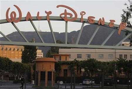 A portion of the signage at the main gate of The Walt Disney Co. is pictured in Burbank, California May 7, 2012. REUTERS/Fred Prouser