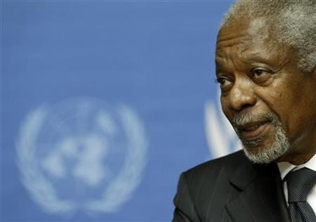 U.N.-Arab League mediator Kofi Annan addresses a news conference at the United Nations in Geneva August 2, 2012. REUTERS/Denis Balibouse