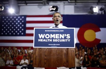 U.S. President Barack Obama speaks at an election campaign rally at the Auraria Event Center in Denver, Colorado, August 8, 2012. REUTERS/Jason Reed