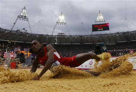 Brittney Reese of the U.S. competes in her women's long jump qualification during the London 2012 Olympic Games at the Olympic Stadium August 7, 2012. REUTERS/Phil Noble