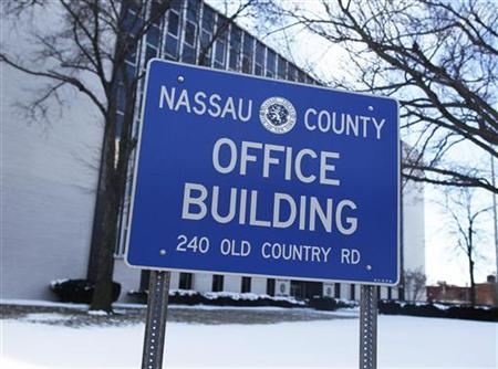A view of the Nassau County office building sign in Mineola, New York, January 8, 2011. REUTERS/Shannon Stapleton
