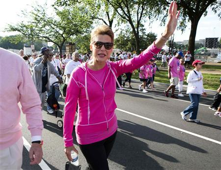 Nancy G. Brinker, founder and chief executive officer of the Susan G. Komen for the Cure, takes part in the foundation's 2012 race in Washington in this June 2, 2012 file photo. REUTERS/Joshua Roberts/Files