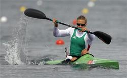 Hungary's Danuta Kozak competes in the women's kayak single (K1) 500m semifinal at the Eton Dorney during the London 2012 Olympic Games August 7, 2012. REUTERS/Darren Whiteside