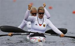 Germany's Franziska Weber and Tina Dietze react after competing in the women's kayak double (K2) 500m semifinal at the Eton Dorney during the London 2012 Olympic Games August 7, 2012. REUTERS/Darren Whiteside