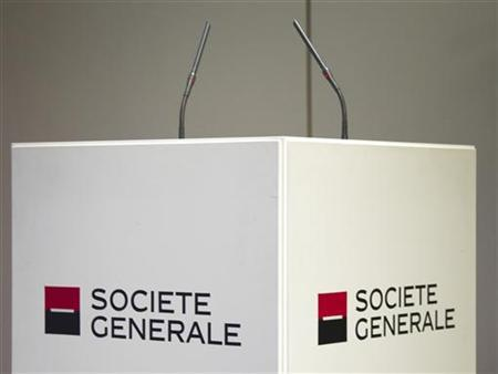 The speaker's podium with the logo of Societe Generale bank is pictured during a news conference to present the bank's 2011 annual results in La Defense near Paris February 16, 2012. REUTERS/Charles Platiau