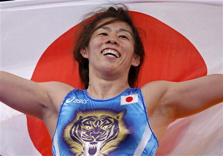 Japan's Saori Yoshida reacts after defeating Canada's Tonya Lynn Verbeek on the final of the Women's 55Kg Freestyle wrestling at the ExCel venue during the London 2012 Olympic Games August 9, 2012. REUTERS/Damir Sagolj