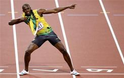 Jamaica's Usain Bolt reacts after winning the men's 200m final during the London 2012 Olympic Games at the Olympic Stadium August 9, 2012. REUTERS/Gary Hershorn