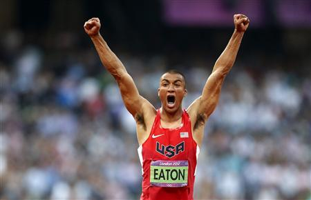 Ashton Eaton of the U.S. reacts as he competes in the men's decathlon javelin throw event during the London 2012 Olympic Games at the Olympic Stadium August 9, 2012. REUTERS/Mark Blinch -
