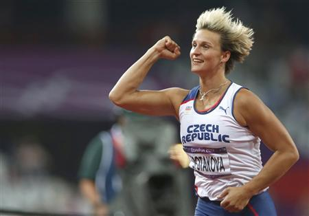 Czech Republic's Barbora Spotakova celebrates after winning the women's javelin throw final during the London 2012 Olympic Games at the Olympic Stadium August 9, 2012. REUTERS/Mark Blinch