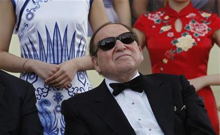 Las Vegas Sands Chairman and CEO Sheldon Adelson attends the opening ceremony of Sands Cotai Central, Sands' newest integrated resort in Macau April 11, 2012. REUTERS/Tyrone Siu