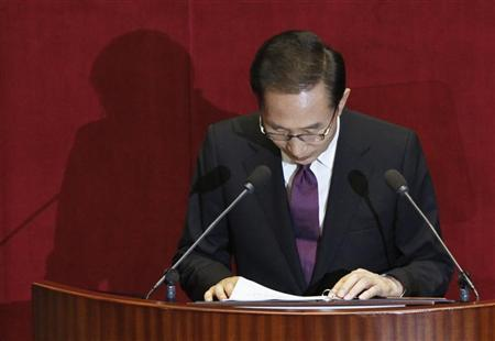 South Korean President Lee Myung-Bak bows after delivering his speech during the inaugural session of the 19th National Assembly in Seoul July 2, 2012. REUTERS/Lee Jae-Won