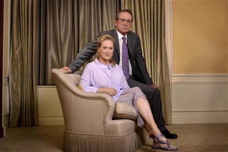 Cast members Tommy Lee Jones (R) and Meryl Streep pose for a portrait during a media tour for the film ''Hope Springs'' in New York, August 5, 2012. REUTERS/Keith Bedford