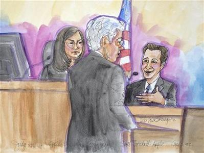Apple attorney Harold McElhinny is shown direct-examining Apple software chief Scott Forstall (R) in the witness stand as U.S. District Judge Lucy Koh (L), looks on, in this court sketch during a the Samsung and Apple trial in San Jose, California, August 3, 2012. REUTERS/Vicki Behringer
