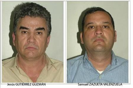 Suspected members of the Sinaloa Cartel Jesus Gutierrez Guzman (L) and Samuel Zazueta Valenzuela are pictured in this handout photo released by the Spanish Interior Ministry, August 10, 2012. REUTERS/Spanish Interior Ministry/Handout