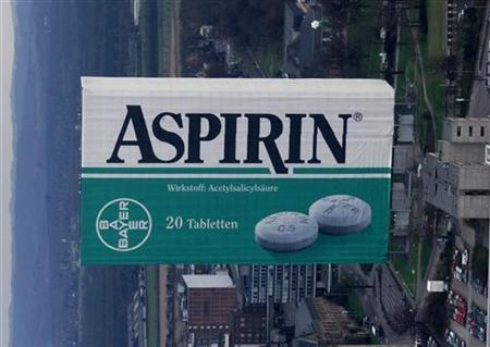 An aerial view shows an administration building of the German Bayer AG chemical company in Leverkusen wrapped as giant ''Aspirin'' box.