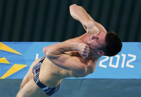 David Boudia of the U.S. dives during the men's 10m platform final at the London 2012 Olympic Games at the Aquatics Centre August 11, 2012. REUTERS/Michael Dalder