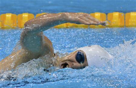 Hungary's Sarolta Kovacs competes in the 200m freestyle swimming event of the women's modern pentathlon during the London 2012 Olympic Games at the Aquatics Centre August 12, 2012. REUTERS/Toby Melville
