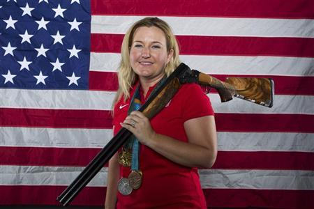 Shooting athlete Kim Rhode poses for a portrait during the 2012 U.S. Olympic Team Media Summit in Dallas, Texas May 14, 2012. REUTERS/Lucas Jackson