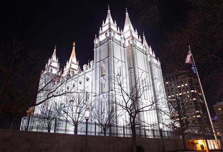 The LDS Church's Mormon Temple in downtown Salt Lake City, Utah, is seen January 27, 2012. REUTERS/Jim Urquhart