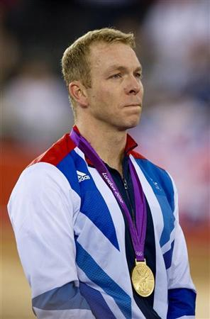 Britain's Chris Hoy reacts after winning gold at the men's keirin at the Velodrome during the London 2012 Olympic Games August 7, 2012. REUTERS/Neil Hall