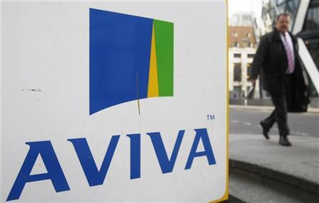A man walks past an AVIVA logo outside the company's head office in the city of London March 5, 2009. REUTERS/Stephen Hird