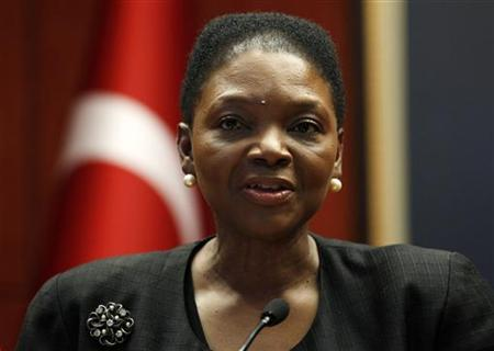 U.N. humanitarian chief Valerie Amos addresses the media in Ankara March 9, 2012. REUTERS/Umit Bektas