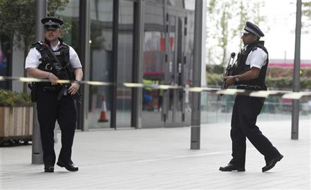 Armed police man a cordoned area at Westfield shopping centre after a bag was left unattended close to the entrance of the Olympic Park in Stratford, east London, August 2, 2012. REUTERS/Andrew Winning