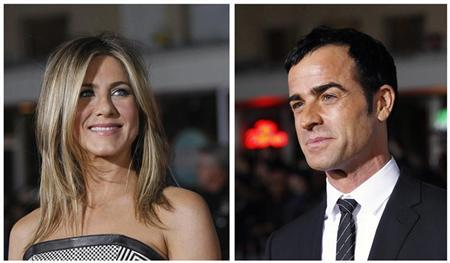 A combination picture shows cast members Jennifer Aniston (L) and Justin Theroux (R) posing at the premiere of ''Wanderlust'' at the Mann Village theatre in Los Angeles February 16, 2012. REUTERS/Mario Anzuoni/Files