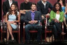"Cast members Eve Torres (L), Todd Palin and Laila Ali attend a panel for ""Stars Earn Stripes"" during the NBC television network portion of the Television Critics Association Summer press tour in Beverly Hills, California July 24, 2012. REUTERS/Mario Anzuoni"