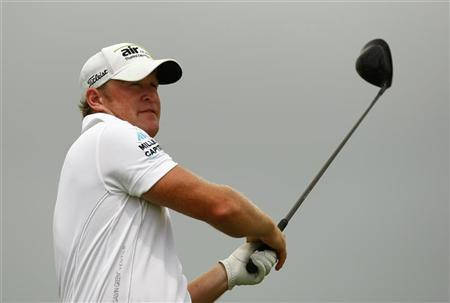 Jamie Donaldson of Britain watches his tee shot on the 16th hole during the second round of the PGA Championship golf tournament at The Ocean Course on Kiawah Island, South Carolina, August 10, 2012. REUTERS/Chris Keane